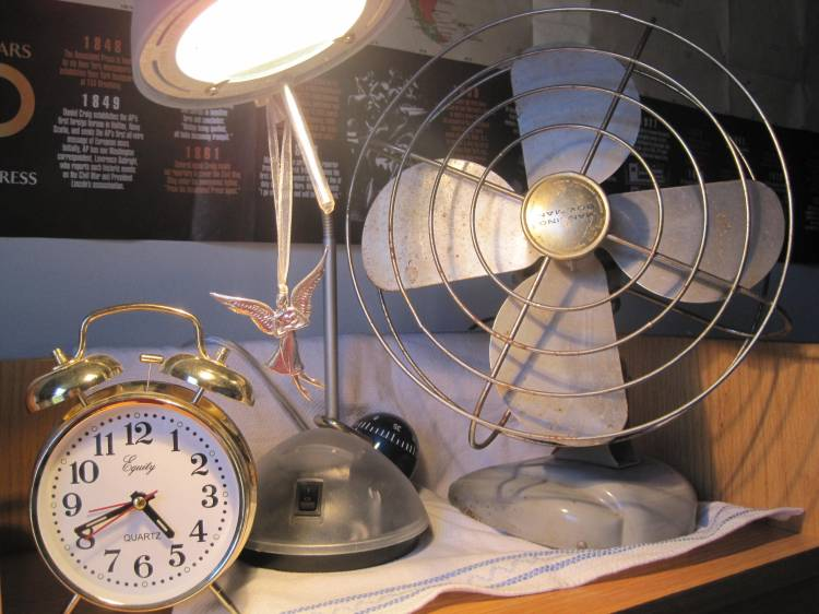 antique fan alarm clock bells lamp my desk