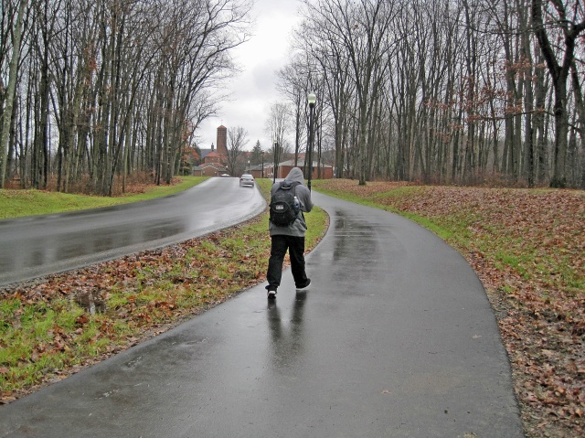 Someone walking on the Ho Chi Minh Trail at St. Bonaventure University
