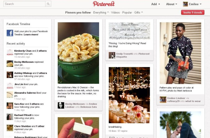 what the pinterest homepage looks like