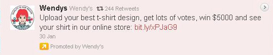 promoted Wendy's tweet T-shirt contest